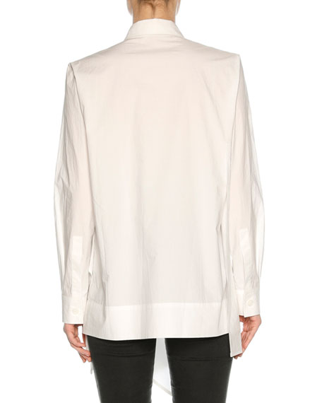 Drape-Front Poplin Tunic Top, White