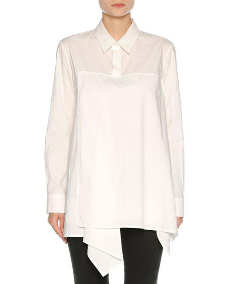 Marni Drape-Front Poplin Tunic Top, White