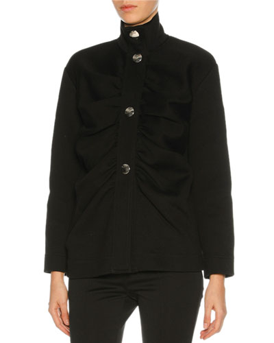 Gathered-Front Button Jacket, Black