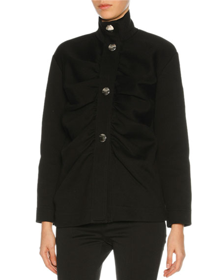 Marni Gathered-Front Button Jacket, Black