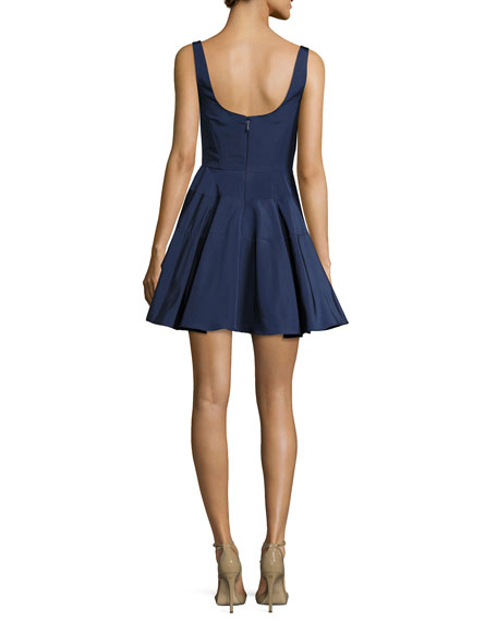 Sleeveless Silk Faille Fit & Flare Dress, Navy