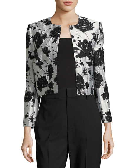 Monique Lhuillier Floral Cloque Jacquard Flared Skirt and