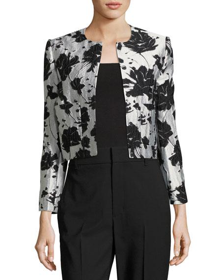 Floral Cloque Jacquard Cropped Jacket