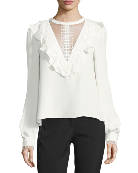 Monique Lhuillier Illusion Ruffle & Lace Silk Blouse