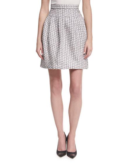 Monique Lhuillier Pleated Jacquard Miniskirt, White/Black and