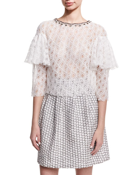 Monique Lhuillier Ruffle-Sleeve Lace Top, White