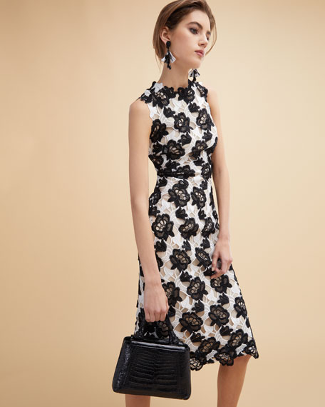 Floral Guipure Lace Sleeveless Sheath Dress, White/Black
