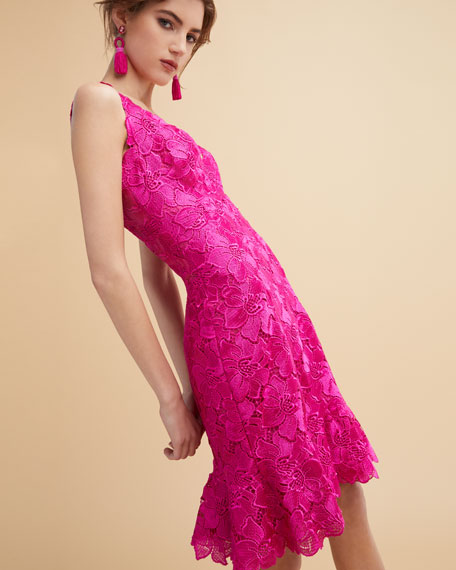 Floral Guipure Lace Sleeveless Flounce Dress, Bright Pink