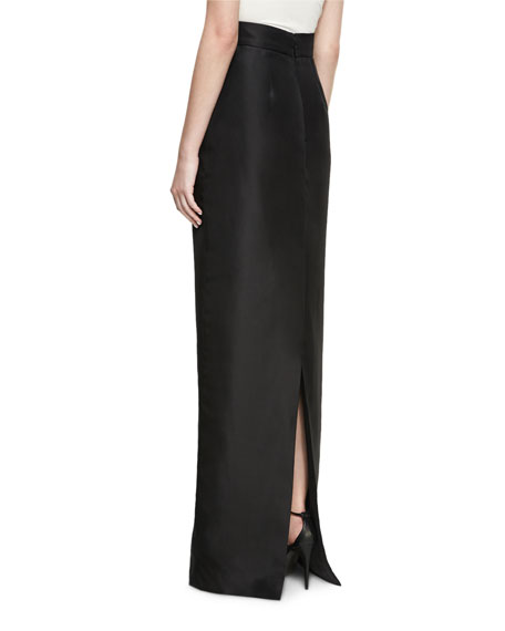 High-Waist Silk Column Skirt, Black