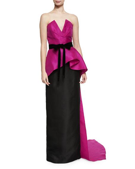 High-Waist Silk Column Skirt, Black