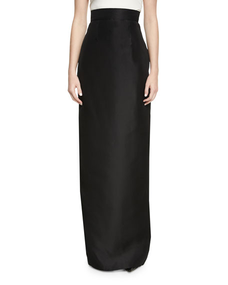 Monique Lhuillier High-Waist Silk Column Skirt, Black