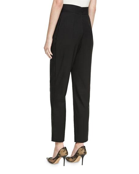 High-Waist Cropped Wool Pants, Black