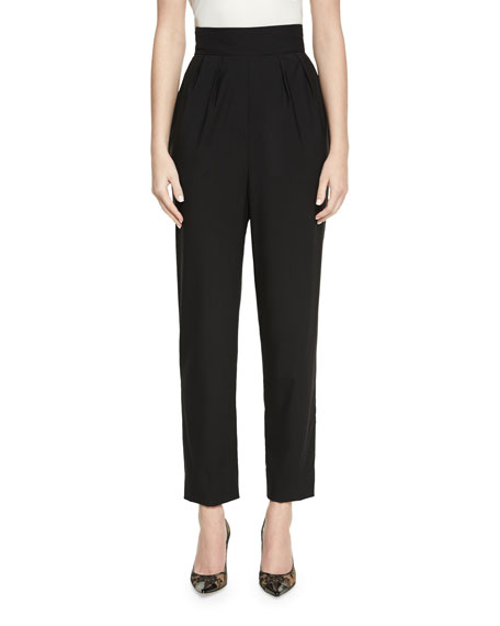 Monique Lhuillier High-Waist Cropped Wool Pants, Black