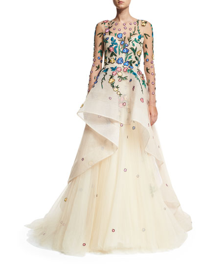Monique Lhuillier Floral-Embroidered Tiered Illusion Gown