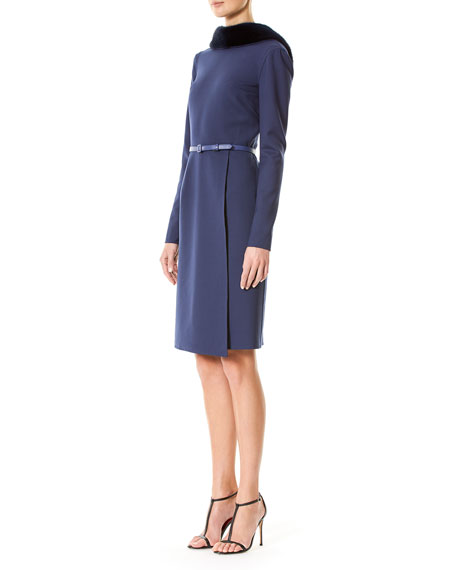 Belted Suiting Dress with Mink Fur Collar, Blue