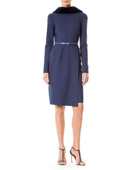 Carolina Herrera Belted Suiting Dress with Mink Fur