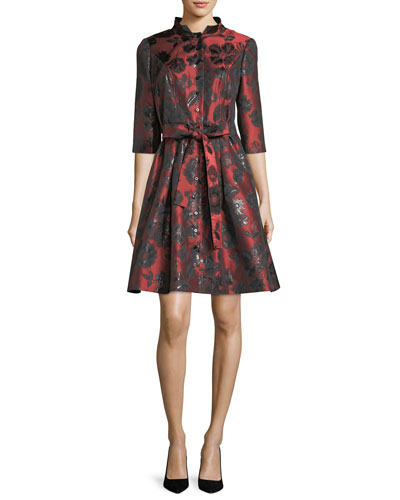 Belted Floral Jacquard Shirtdress