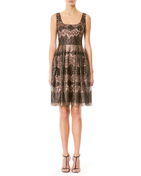 Carolina Herrera Metallic Lace Fit & Flare Dress,