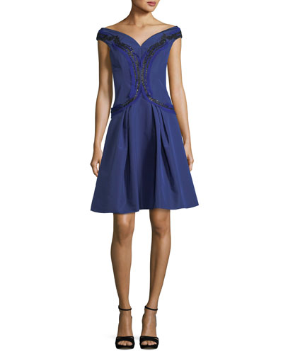 Embroidered Silk Faille Fit & Flare Cocktail Dress