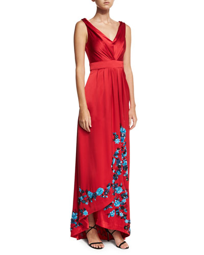 Draped Floral-Beaded Satin Gown