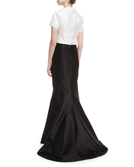 Two-Tone Tie-Front Mermaid Gown, Black/White