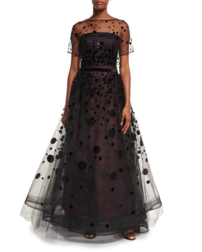 Polka-Dot Embroidered Tulle Ball Gown