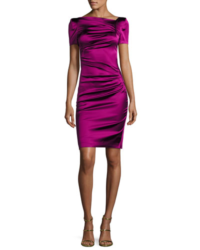 Noomi Short-Sleeve Duchesse Satin Ruched-Side Cocktail Dress, Fuchsia