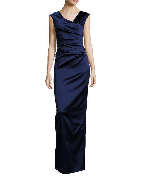 Talbot Runhof Note V-Neck Cap-Sleeve Ruched Gown, Royal