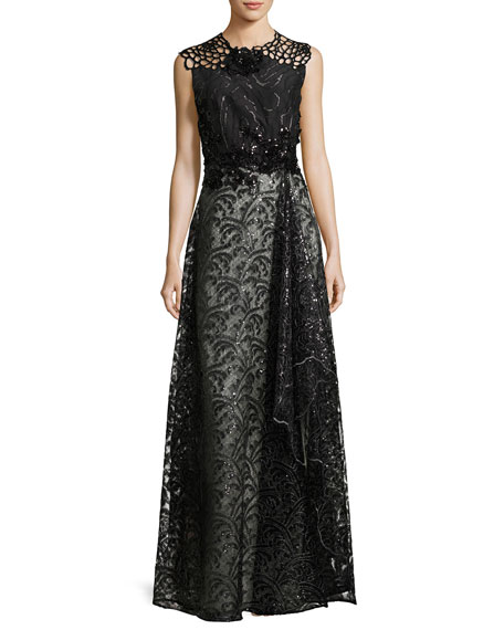 Noldin Sequined Cutout Mixed-Media Gown, Black