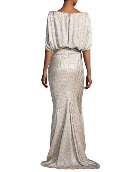 Lobata Metallic Cloqué Cape-Back Gown, Gold