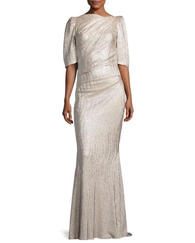 Lobata Metallic Cloqué Cape-Back Gown, Gold