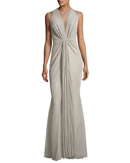 Nominee Metallic Voile Illusion Gown, Feather (Taupe)