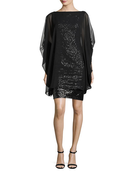 Norine Sequined Dress with Georgette Overlay, Black