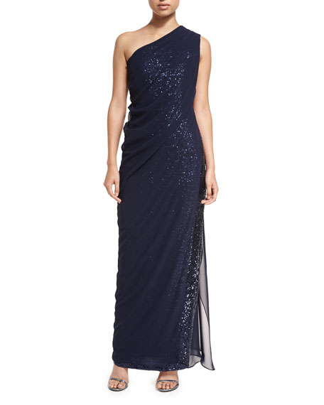 Novak Sequined One-Shoulder Gown