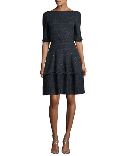 Northside Sequined Tweed Fit & Flare Cocktail Dress, Royal