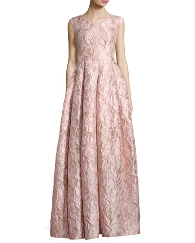 Notion Poppy Relief Cap-Sleeve V-Neck Gown, Light Pink