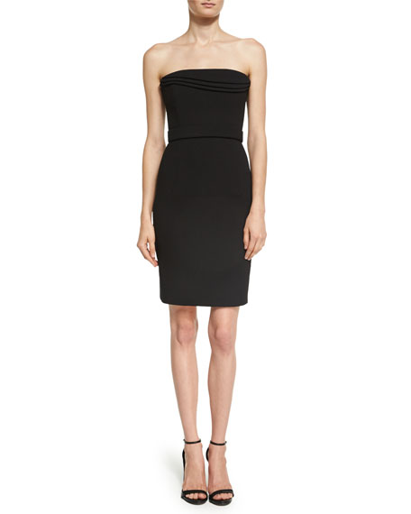 Brandon Maxwell Strapless Petal-Bodice Cocktail Dress, Black