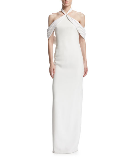 Brandon Maxwell Draped Cold-Shoulder Crepe Gown, Ivory