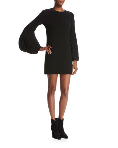 Petal-Sleeve Crepe Cocktail Minidress, Black