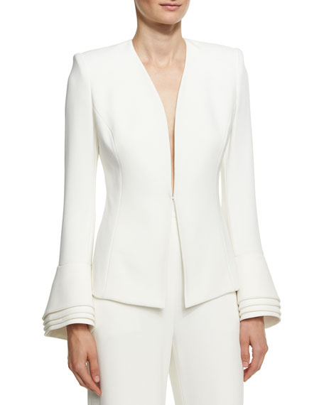 Brandon Maxwell Layered-Cuff Crepe Jacket, Ivory