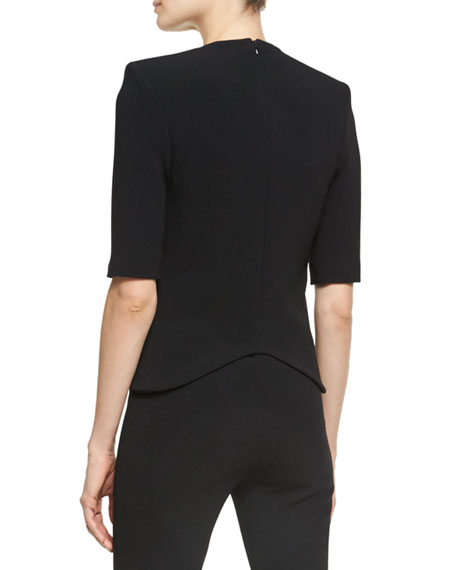 Crescent Moon Crepe Top, Black