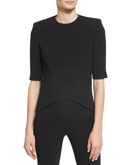 Brandon Maxwell Crescent Moon Crepe Top, Black and