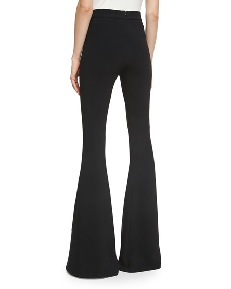 High-Waist Crepe Kick-Flare Pants, Black