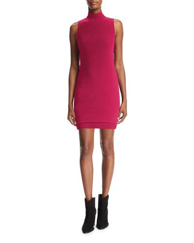 Mock-Neck Sleeveless Minidress, Raspberry