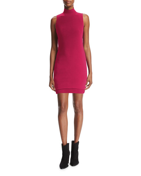 Mock-Neck Sleeveless Minidress, Raspberry