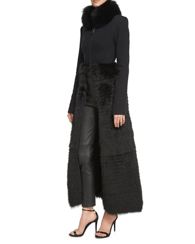Long Zip-Front Coat with Fur Skirt & Collar