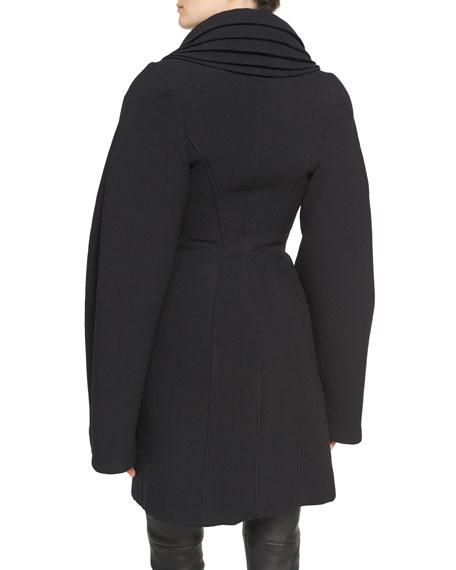 Layered-Collar Wool Crepe Zip-Front Coat, Black
