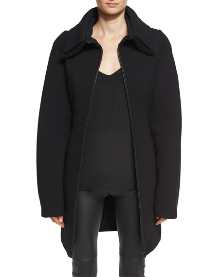 Brandon Maxwell Layered-Collar Wool Crepe Zip-Front Coat, Black