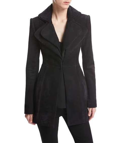Brandon Maxwell Suede Layered-Lapel Jacket, Navy