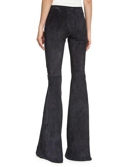 Suede Low-Rise Flare-Leg Pants, Black